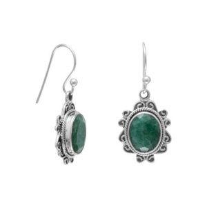 Oxidized Beryl French Wire Earrings